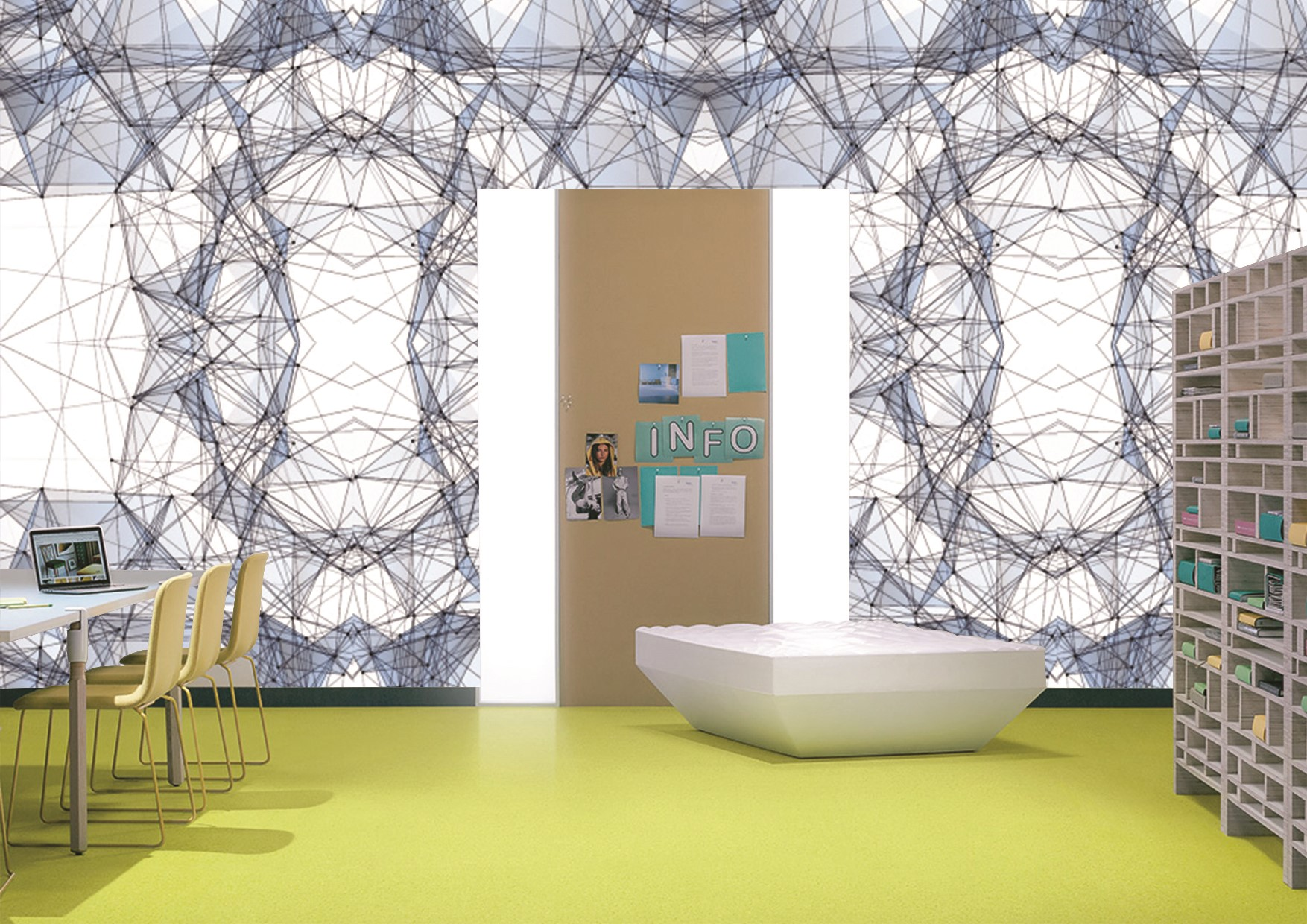 Polygonal collection of wallpapers and wallcoverings